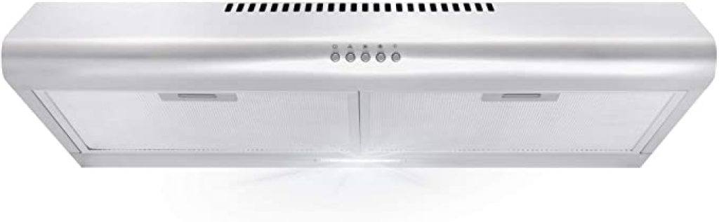 Cosmo 5MU30 30 in. Under Cabinet Range Hood with Ducted Ductless Convertible Duct, Slim Kitchen Stove Vent with, 3 Speed Exhaust Fan, Reusable Filter and LED Lights in Stainless Steel