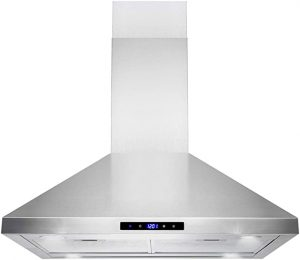"Golden Vantage Island Mount Range Hood –30"" Stainless-Steel Hood Fan for Kitchen – 3-Speed Professional Quiet Motor – Premium Touch Control Panel – Minimalist Design – Mesh Filters & LED Lights.jpg"