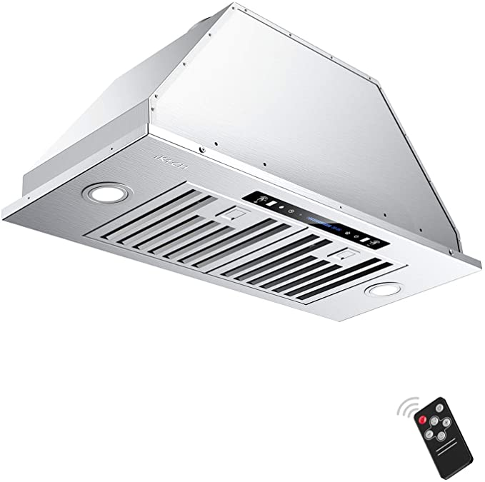 IKTCH 30 inch Built-in Insert Range Hood 900 CFM, Ducted Ductless Convertible Duct, Stainless Steel Kitchen Vent Hood with 2 Pcs Adjustable Lights and 2 Pcs Baffle Filters