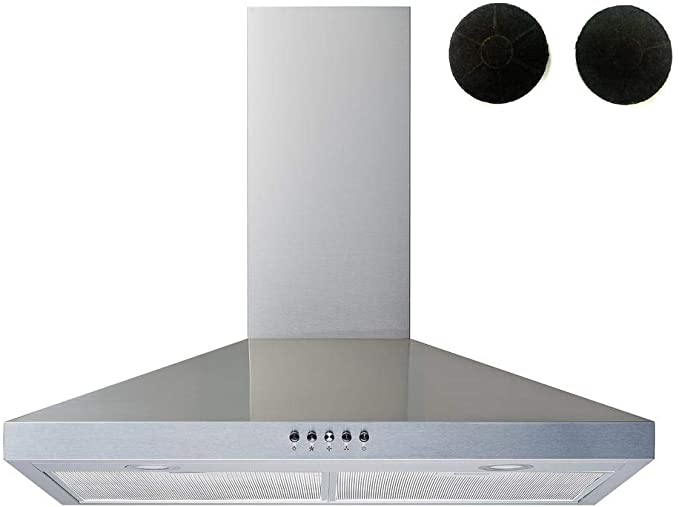 Winflo 30 Convertible Stainless Steel Wall Mount Range Hood with Stainless Steel Baffle filters or Mesh Filters, LED lights and 3 Speed Push Button Control (With 2pcs charcoal filters)